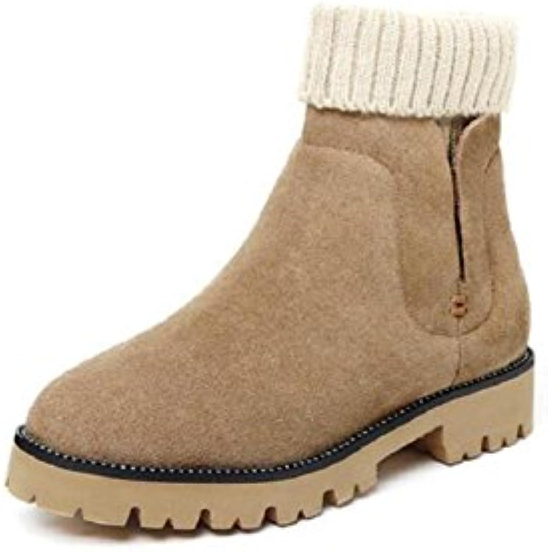 Femme coton rembourré épais chaussures avec des semelles plates fille Martin bottes neige fille plates Court bottes gros souliers 98b983