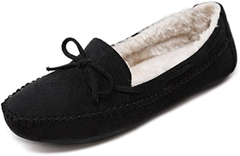Minetom Mujer Otoño Calentar Plano Zapatos Suave Peluche Forro Mocasines Shoes Zapatos Del Barco Con Bowknot