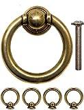 FUXXER - Antik Schubladen Ring-Ösen Griffe   Guss-Eisen Messing Bronze Design   Für Schieber Schrank-Türen Truhen Vintage Landhaus Retro   4er Set