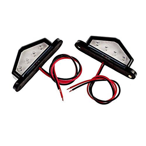 Justech 2 x 4 LED Feux Plaque Eclairage de Plaque Immatriculation Lampe Ampoule LED Feu Arrière de Plaque d'Immatriculation Étanche pour Camion Camionnette Remorque Voiture Véhicule Caravane 12V 24V