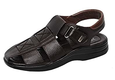 MAGIC TREE Stylish Velcro Leather Sandal for Men's (7, Brown)