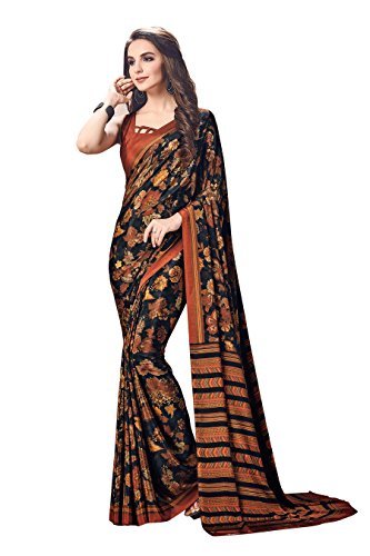 Ligalz Woman's Crepe Silk Saree