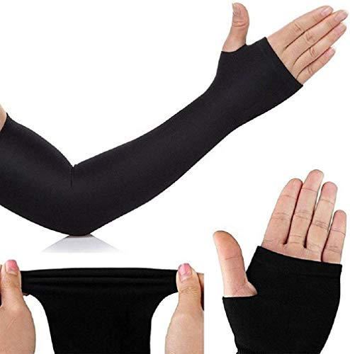 Prime Box Black Fully Stretched Skinny Fit Arm Sleeves for Hand Cover Arm to Sunscreen