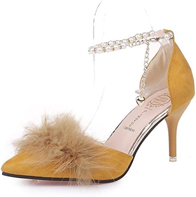 DIMAOL Damenschuhe Beflockung PU Feder Fallen Komfort Heels High Heel Schuhe für Casual Grün Gelb Schwarz