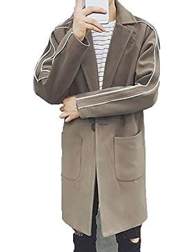 DZYZ Uomo Avvolgere Trench Coat Inverno Slim Long Sezioni Giacca di lana , gray , xl