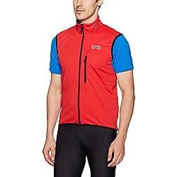 Gore BIKE WEAR Soft Shell Chaleco para ciclismo, Hombre, WINDSTOPPER, Talla XL, Rojo, VWSELM350006