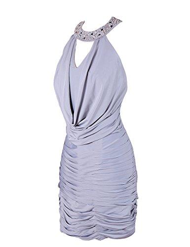 Dressystar Robe femme,Fourreau, Robe de soirée/de bal,dos nu,courte en Mousseline Corail