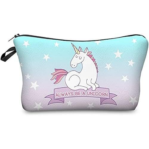 maquillaje unicornio kawaii Fringoo® Las mujeres de Make Up Bolsa pequeña bolsa de cosméticos Funny Cute bolsa de aseo impreso Aseo belleza organizador estuche unicornio