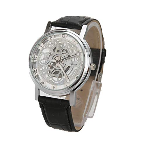 FORH Armbanduhr Männer Luxus Edelstahl Quarz Uhren Military Sport Lederband Zifferblatt Armbanduhr Retro Geschäfts Klassisch Analog Quarz Dünn Armbanduhr Gents Uhr (Schwarz B)