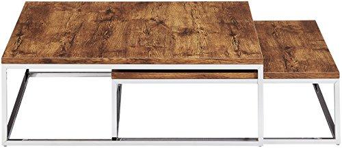 Relaxdays Couchtisch Holz Flat 2er Set Natur Hbt 27 X 80 X 80 Cm