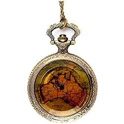 UNIQUEBELLA Pocket watch-Quartz-Men/ Women/ Children-Vintage-Alloy Chain/Necklace-A5 015-Bonze-Tea Map