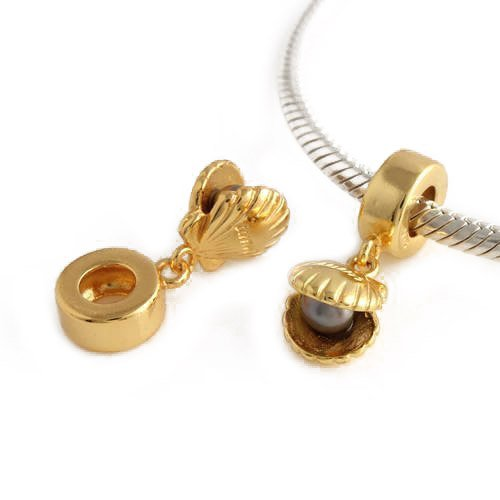 Andante-Stones 925 Sterling Silber Gold Dangle Bead Muschel mit Perle Element Kugel für European Beads Modul Armband + Organzasäckchen -