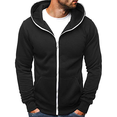 MERICAL Mantel Herren Casual Slim Fit Zipper Hoodie mit Pocket Outwear Bluse Sweatshirt(Medium,schwarz)
