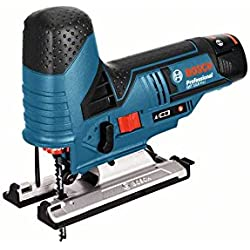 Bosch Professional GST 10,8 V-LI Akku-Stichsäge, 2x2,5 Ah Akku, 2 Sägeblätter, Absaug-Set, Gleitschuh, 1,5 kg inklusiv Akku, 10,8 V, L-Boxx, 06015A1003