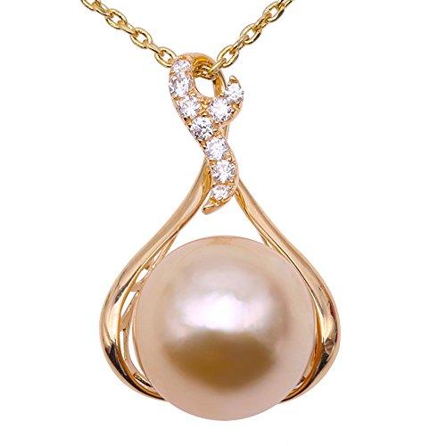Triple Kostüm X - JYX Pearl Anhänger Echte 11,5 mm Rund Golden Südsee Zuchtperlen Perle Anhänger Halskette in 14 Karat Gelb Gold AAA Qualität