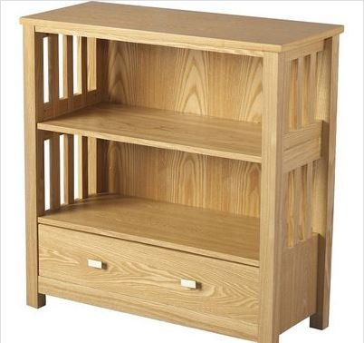 Ashmore Ash Veneer 1 Drawer Low Bookcase - Perfect Bookcases For Any Hallway, Living Rooms, Dining Room, Conservatory and Bedroom featuring 2