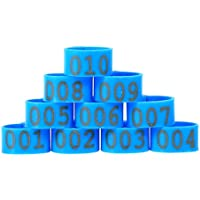 100PCS 16mm Numero 001-100 Anelli in Polsini di Pollo Numerati Anatre Anelli di Gambe di Gomma, 6Colors da Scegliere ( Colore : Blu )