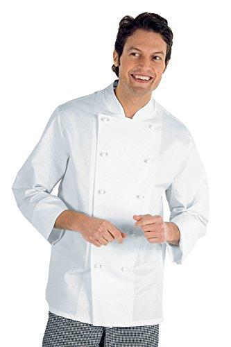 Isacco Giacca Cuoco Classica - Isacco Bianco, Bianco, XL, 100% Cotone, Manica Lunga, Bottoni antipanico - Tessuto 210 gr/m²