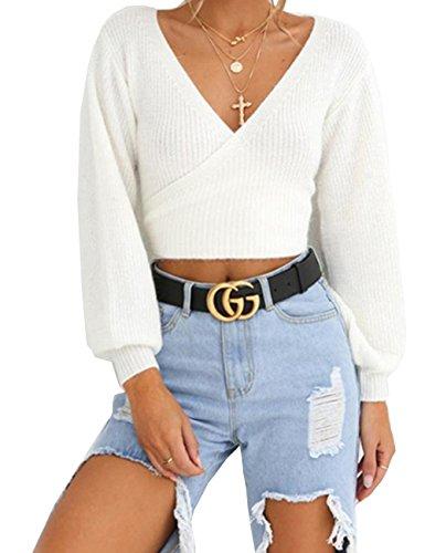 V Ausschnitt Pullover Damen, Teenager Mädchen Bauchfrei Crop Tops Langarm Wrap Tie Kurz Pulli Langarmshirts Sweatshirt Jumper Oberteile Tops Hemd Shirt (Weiß, S)