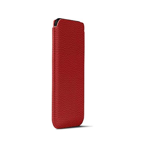 Lucrin - Custodia per iPhone X con linguetta - Nero - Pelle Ruvida Rosso