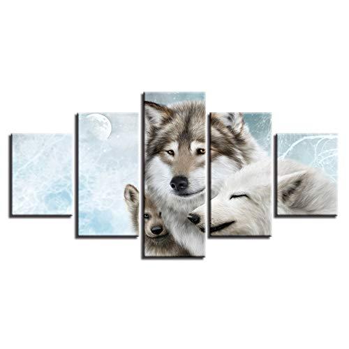 adgkitb canvas Moderne Hd Rahmen Leinwandbild Für Wohnzimmer Wand Kunstwerke 5 Stücke Tier Poster Wölfe Wandmalerei -