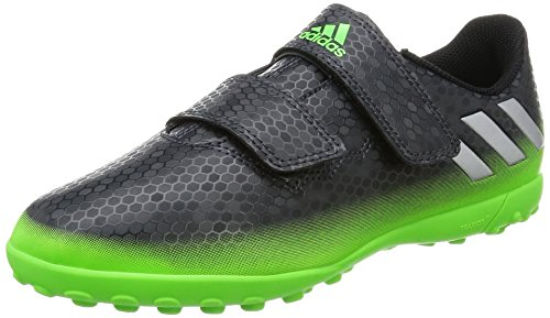 adidas Unisex-Kinder Messi 16.4 TF J H&L Fußballschuhe, Grau (Dark Grey/Silver Met./Solar Green), 34 EU
