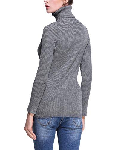 Rocorose Damen Langarm Gerippter Basic Rollkragen Pullover Grau