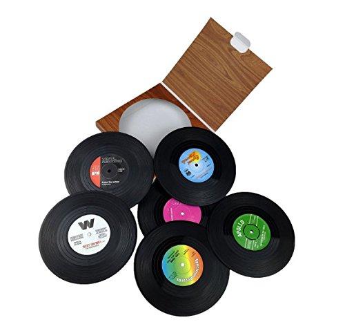 6x Milopon Untersetzer Silikon Coaster Rutschfest Retro-Schallplatten Untersetzer für Bar, Wohnzimmer, Küche Gläser, Becher, Tisch, Bar & Büro Haus Küche Dekor Farben mischen (Glas Büro-tisch)