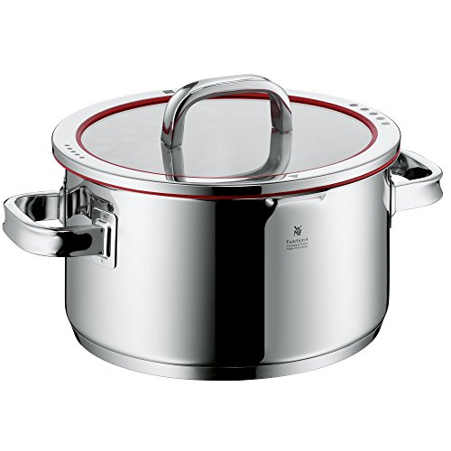 WMF cookware Ø 24 cm approx. 5,7l Function 4 Inside scaling lid - pour off or decant liquids without spilling to keep your dishes and cooker clean.   Made in Germany hollow side handles glass lid Cromargan stainless steel brushed suitable for all stove to
