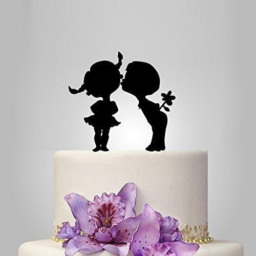 Cute Love Damen und Herren Silhouette Tortenaufsatz Hochzeit Jahrestag Kuchen Topper