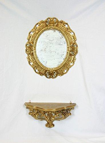 Console étagère + Miroir Doré Or imitation vintage style louis xvi meubles miroir entrée