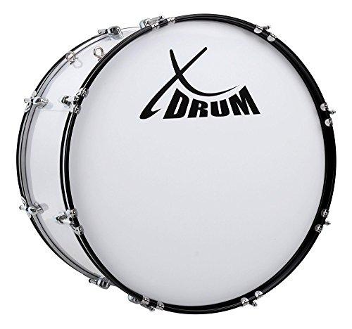 """XDrum MBD-224 Marsch Bass Trommel, Fußball Pauke 24"""" x 12"""" (10,5 kg, 4 Ösen, Spannschrauben, inkl. Paar Schlägel, Tragegurte, Stimmschlüssel) weiß"""