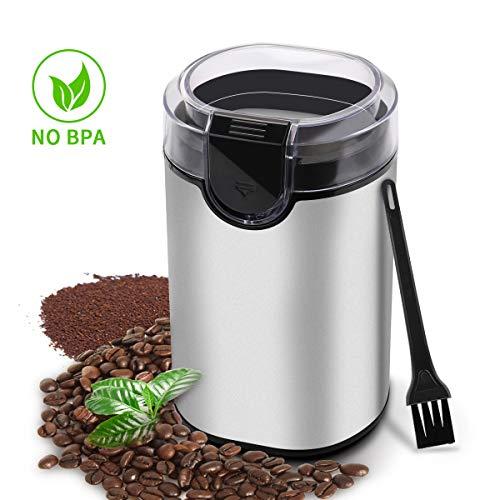 ⭐morpilot® Elektrische Kaffeemühle, Edelstahl Kaffeemühle mit Ein Putzbürste für Kaffeebohnen | Nüsse | Gewürze | Getreide usw. - 70g Füllmenge, Pinsel Inklusive (#1)