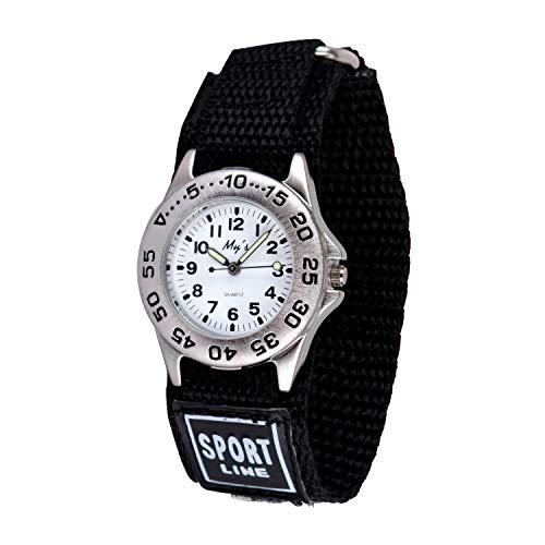 Neihou Kinder und Jugendliche Uhr Analog Quarz mit Nylon Fast Wrap Armband Schwarz WB06901 MEHRWEG