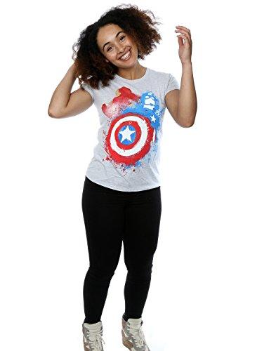 Marvel Femme Captain America Civil War Painted vs Iron Man T-shirt Heather Gris