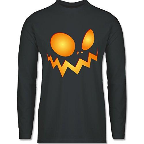 Halloween - Kürbisgesicht groß Pumpkin - Longsleeve / langärmeliges T-Shirt für Herren Anthrazit