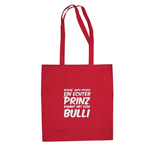 Ein echter Prinz kommt mit dem Bulli - Stofftasche / Beutel Rot