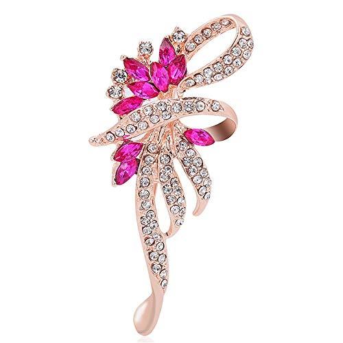 Yiiana Crystal Cat Eyewear Zubehör Mit Voller Boutonniere, Rose Rot Frauen Mode Korsage Broschen Kleidung Schmuck Dekorative Zubehör