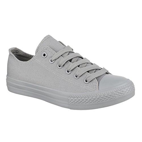 Elara Unisex Sneaker | Bequeme Sportschuhe für Damen und Herren | Low Top Turnschuh Textil Schuhe 01-A-ZY9032-Grau-45