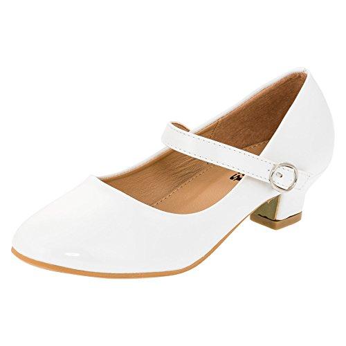 Max Shoes Festliche Mädchen Pumps Ballerina Schuhe Absatz Lackoptik in Vielen Farben M322ws Weiß Gr.33