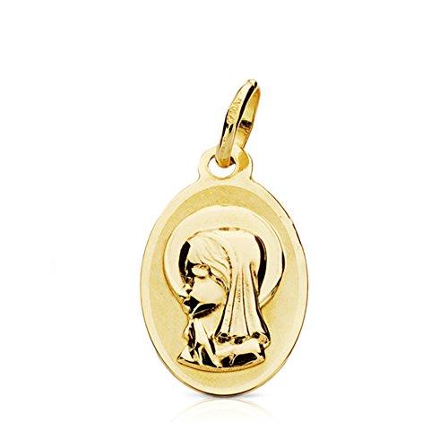 Medalla Virgen niña oval en oro amarillo de 9 Ktes