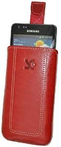 Suncase Ledertasche mit Rückzugsfunktion für das Samsung Galaxy S2 Plus (i9105P) und Galaxy S2 (i9100) S2 in rot