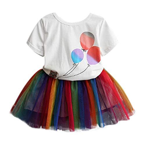 JUTOO 2 Stücke Set Kleinkind Baby Mädchen Ballon Print T-Shirt Tops + Regenbogen Tutu Tüll Röcke Outfits (Weiß,9)