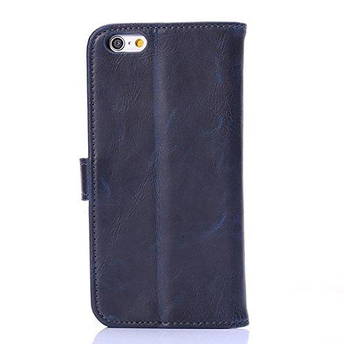 JIALUN-Telefon Fall Horizontale Folio Stand Case Cover mit Kickstand & Card Slots & Magnetverschluss für iPhone 6 & 6s ( Color : Gray ) Blue