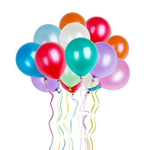 Da.Wa 1 Paquete 100pcs de Globos de Látex Globos para la Decoración de la Boda Decoración del Partido Cumpleaños-Color al Azar