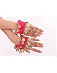 la danse du ventre bracelet de chaîne de main bijoux à la main bracelets avec des pièces de couleur or (la paire) en fuchsia NOUVEAU