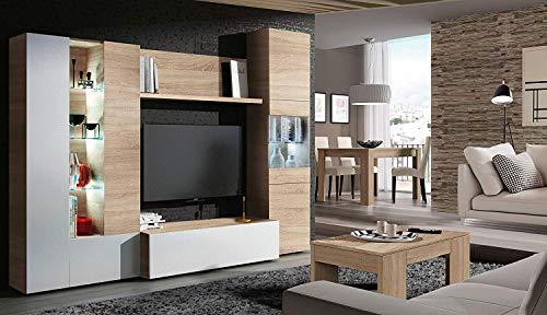 Mobile Sala da Pranzo in Legno Bianco Bricozone Norway Parete Attrezzata Soggiorno Salotto Parete Attrezzata Mobile TV