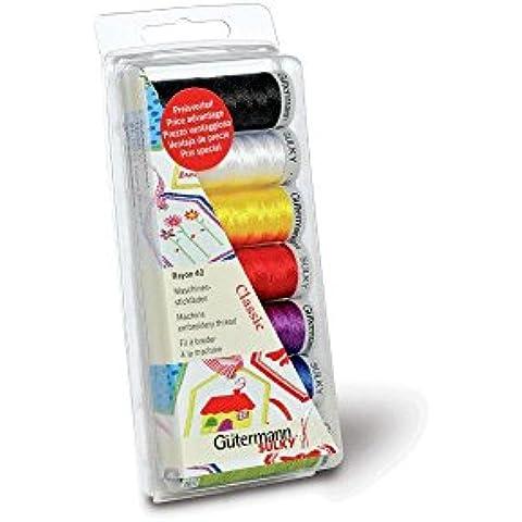 Gutermann Rayon 40 Classic- Juego de bobinas de hilo para máquina de coser (100% viscosa), colores