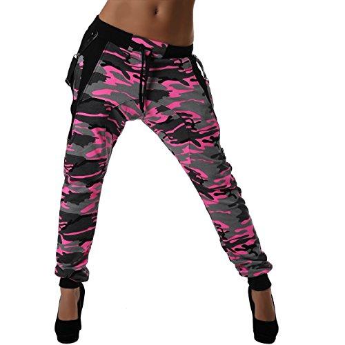 Crazy Age Camouflage Jogginghose Boyfriendhose Bagyyhose mit Hosentäger CA 1119 Cam (XXL, Pink) (Xxl-rosa-yoga-hosen Für Frauen)