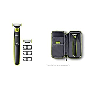 Philips OneBlade Hybrid Trimmer & Shaver with 3 x Lengths & 1 Extra Blade Amazon Exclusive (UK 2-Pin Bathroom Plug) with Travel Case